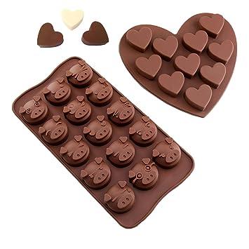 Silicona Chocolate Forma Cerdo Emoji & Corazón Praline Forma cubitos de hielo molde silicona para chocolate