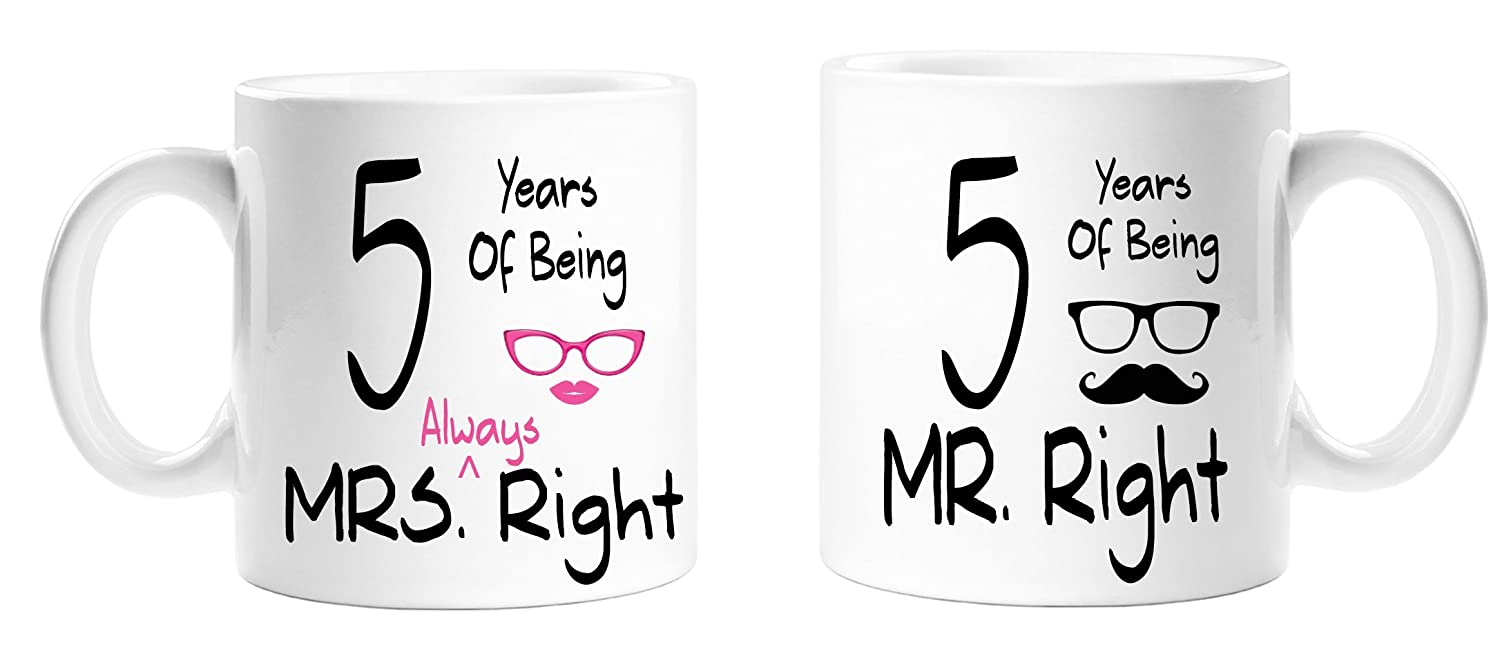5 Years Of Being Mr Right & Mrs Always Right Novelty Anniversary Gift Mugs -5th Anniversary - Couples Mug Set - Perfect Gift for Christmas, Anniversary Top Sale