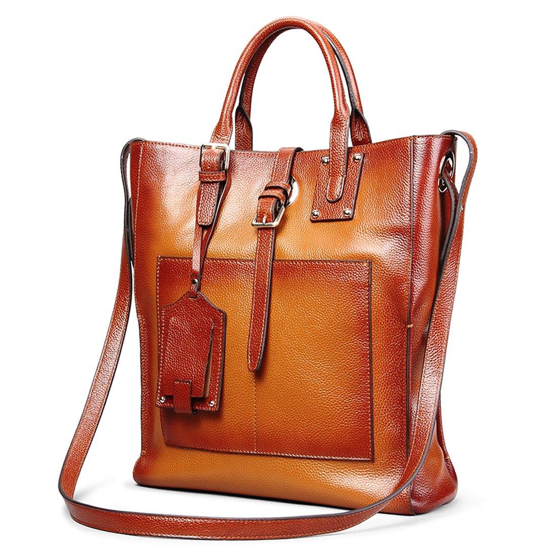 AINIMOER Women's Genuine Leather Tote Handle Bag Cross-body Handbag Top Handle Shoulder Bags(Sorrel-L)