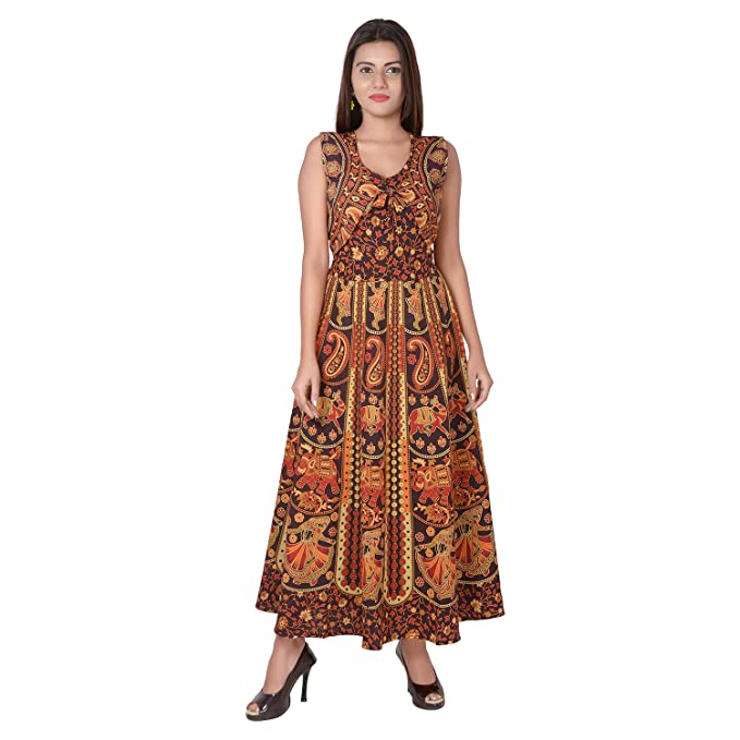 ab84d6da90a Jaipuri Fashionista Cotton Women s Maxi Long Dress Jaipuri Printed with  Atteched Jacket (Coca