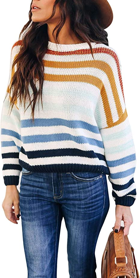 cordat Women Sweaters Long Sleeve Crew Neck Color Block Striped Oversized Casual Knitted Pullover Tops