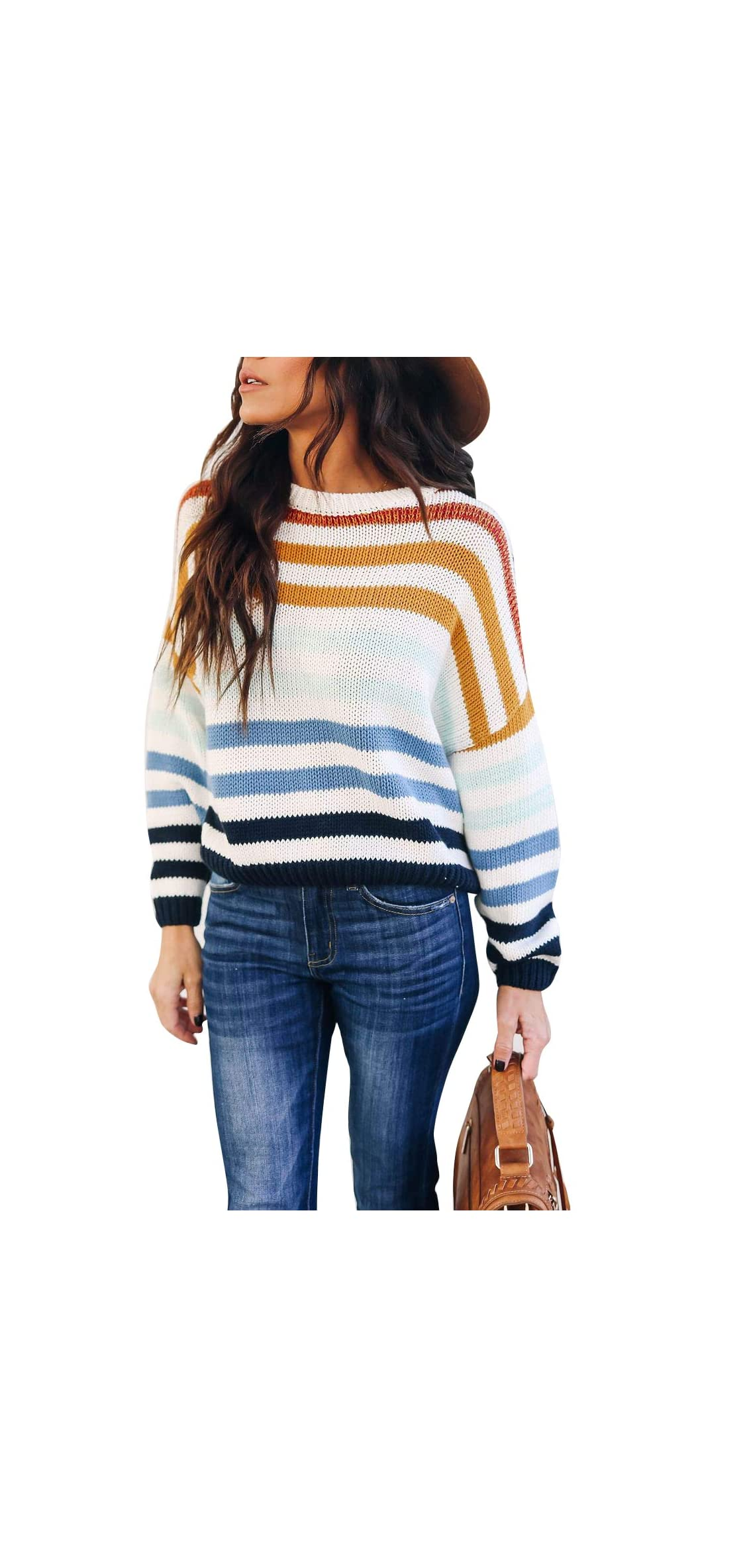 Women Sweaters Long Sleeve Crew Neck Color Block Striped