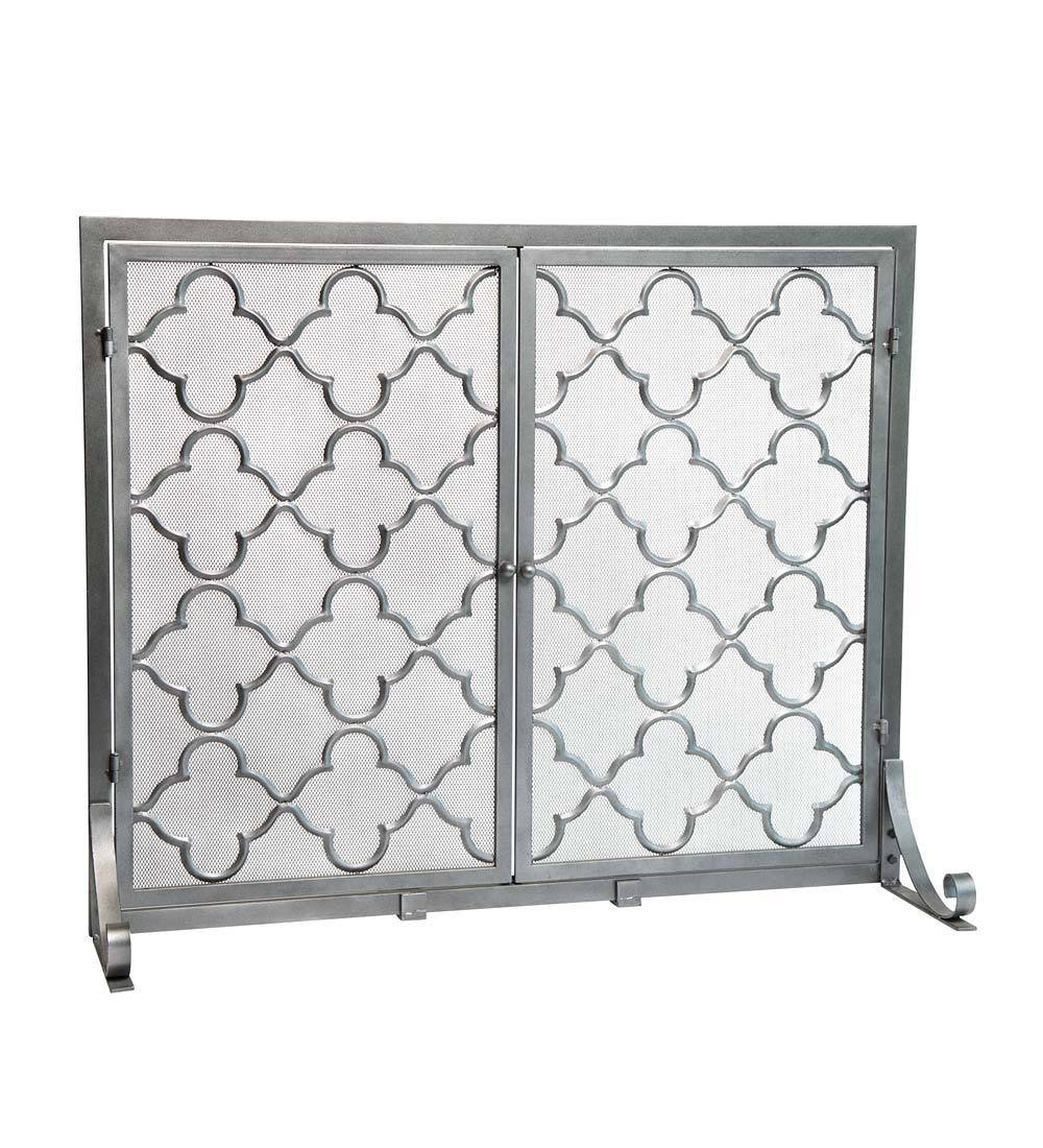 Large Steel Geometric Fireplace Screen with Doors, Durable Frame and Metal Mesh, 44 W x 33 H Pewter by Plow & Hearth