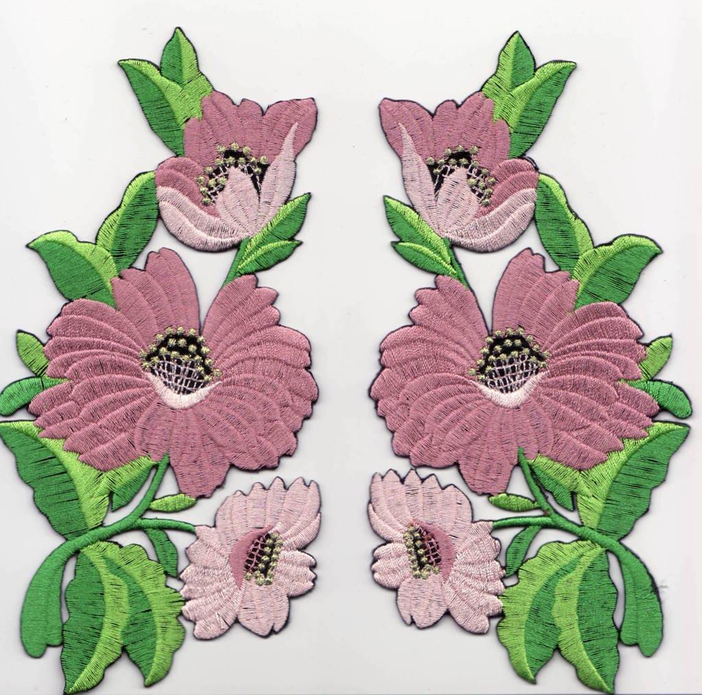 Toppe toppa patch termoadesive fiore fiori termoadesivi termoadesiva applicazioni ricamate ricamato adesiva da cucire per stoffa jeans cucito  2 pezzi kit 2 fiori a 14 x 8 cm al pezzo  B2SEE