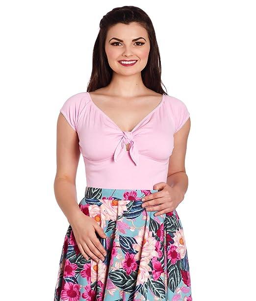 3074dd2b566 Hell Bunny Bardot Rockabilly 50 s Blouse Jersey Top - Pink (XS - UK ...