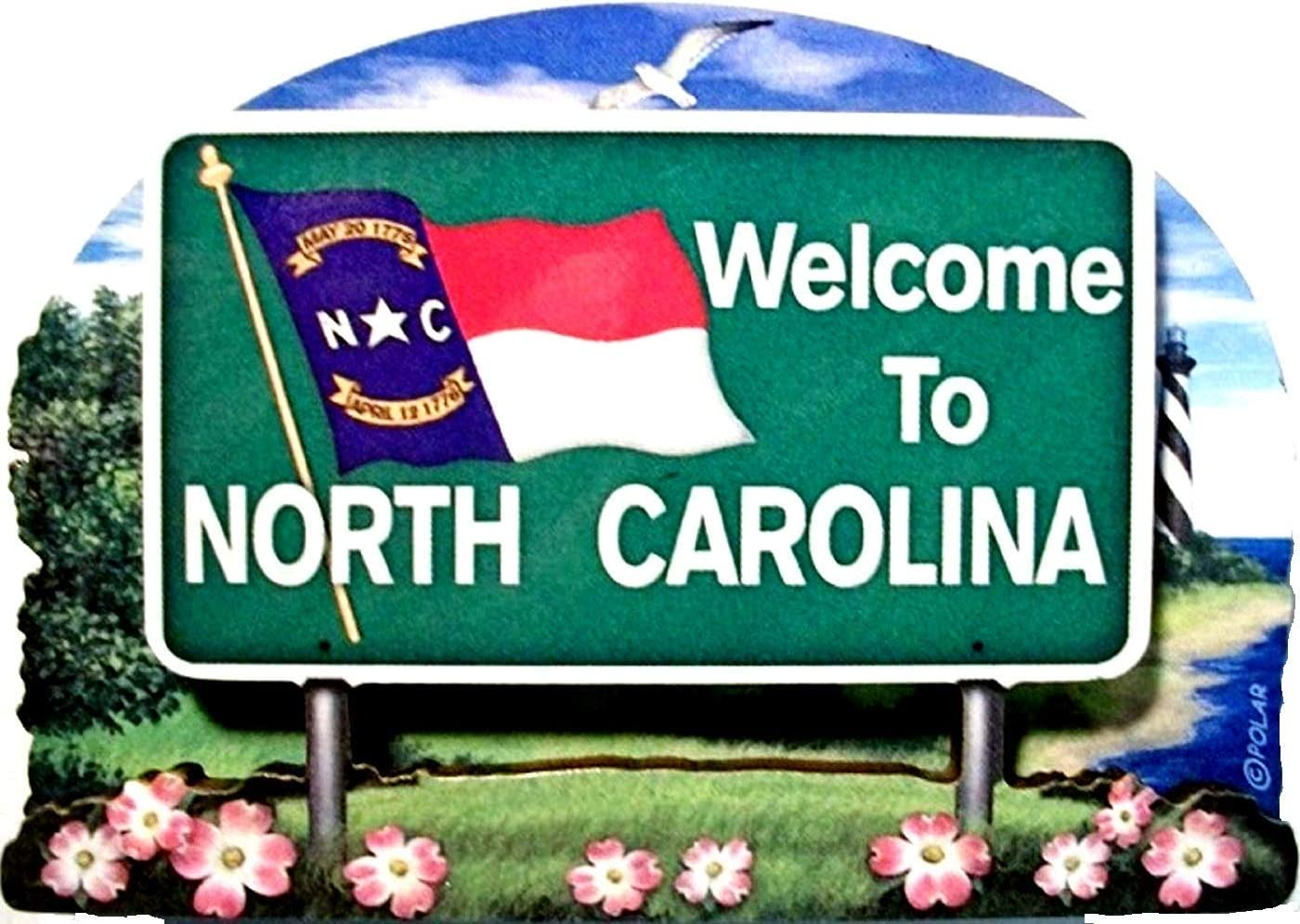 North Carolina State Welcome Sign Wood Fridge Magnet