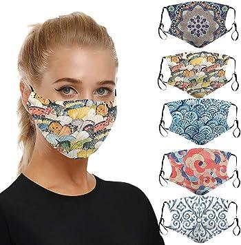 Imagen deMrTom 5CPS 𝐌𝐚𝐬𝐜𝐚𝐫𝐢𝐥𝐥𝐚𝐬 Mujer Bonita, Lavables y Reutilizables Antipolvo, con Bolsillo de Filtro para Hombres Adultos de Moda