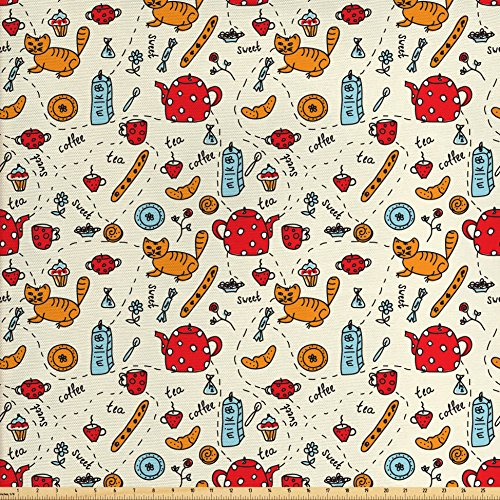 Ambesonne Kitchen Decor Fabric by The Yard, Cats Tea and Sweets Coffee Morning Muffins Milk Bread Home Cafe Cartoon Doodle Art, Decorative Fabric for Upholstery and Home Accents Red Cream Orange