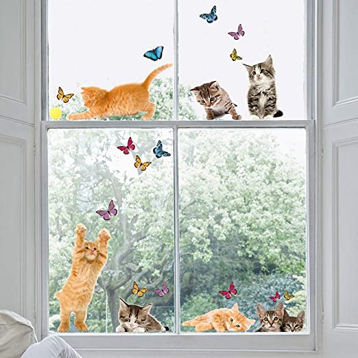 Cat Is  Clpid Water Flower Mouse Hole Door Wall Window Decal Mural Sticker RPA