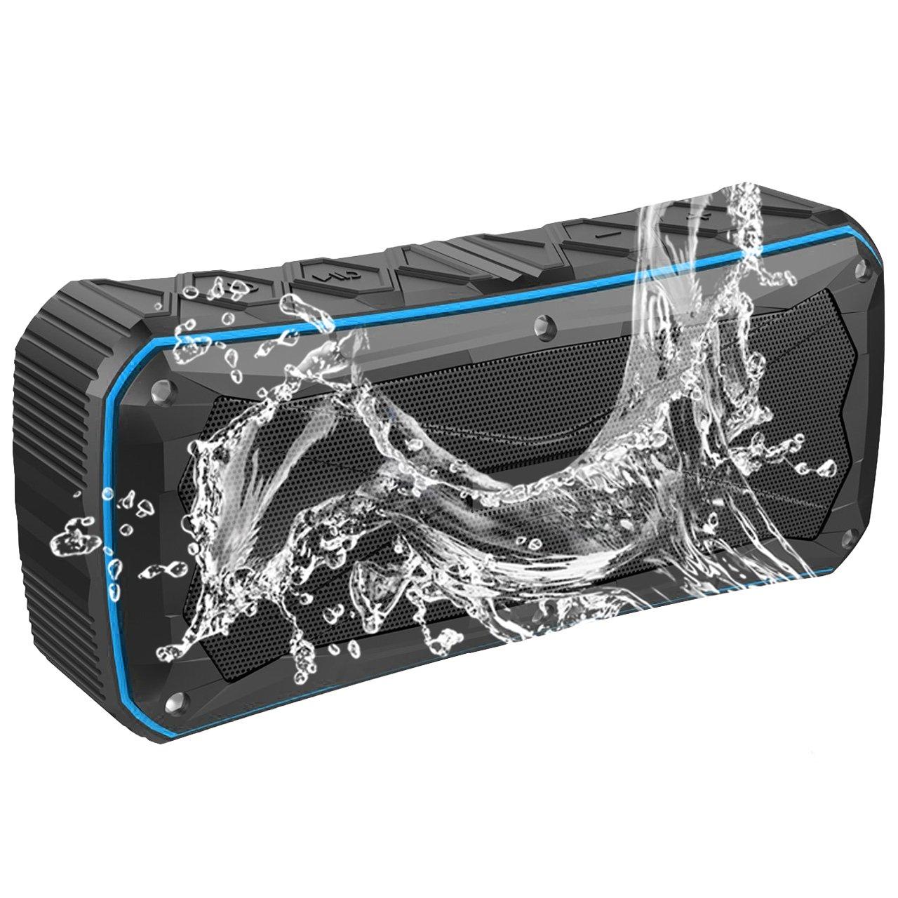 EMODUX Waterproof Portable Bluetooth Speaker Black with Blue