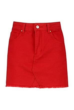 Boohoo Womens Petite Hayley Red Denim Skirt In Fire Red Size 0