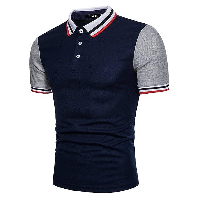 UUAISSO Hombre Collar Roscado Manga Corta Polo Casual Moda Slim Fit Camisas  T-Shirt  Amazon.es  Ropa y accesorios 145908f9823b0