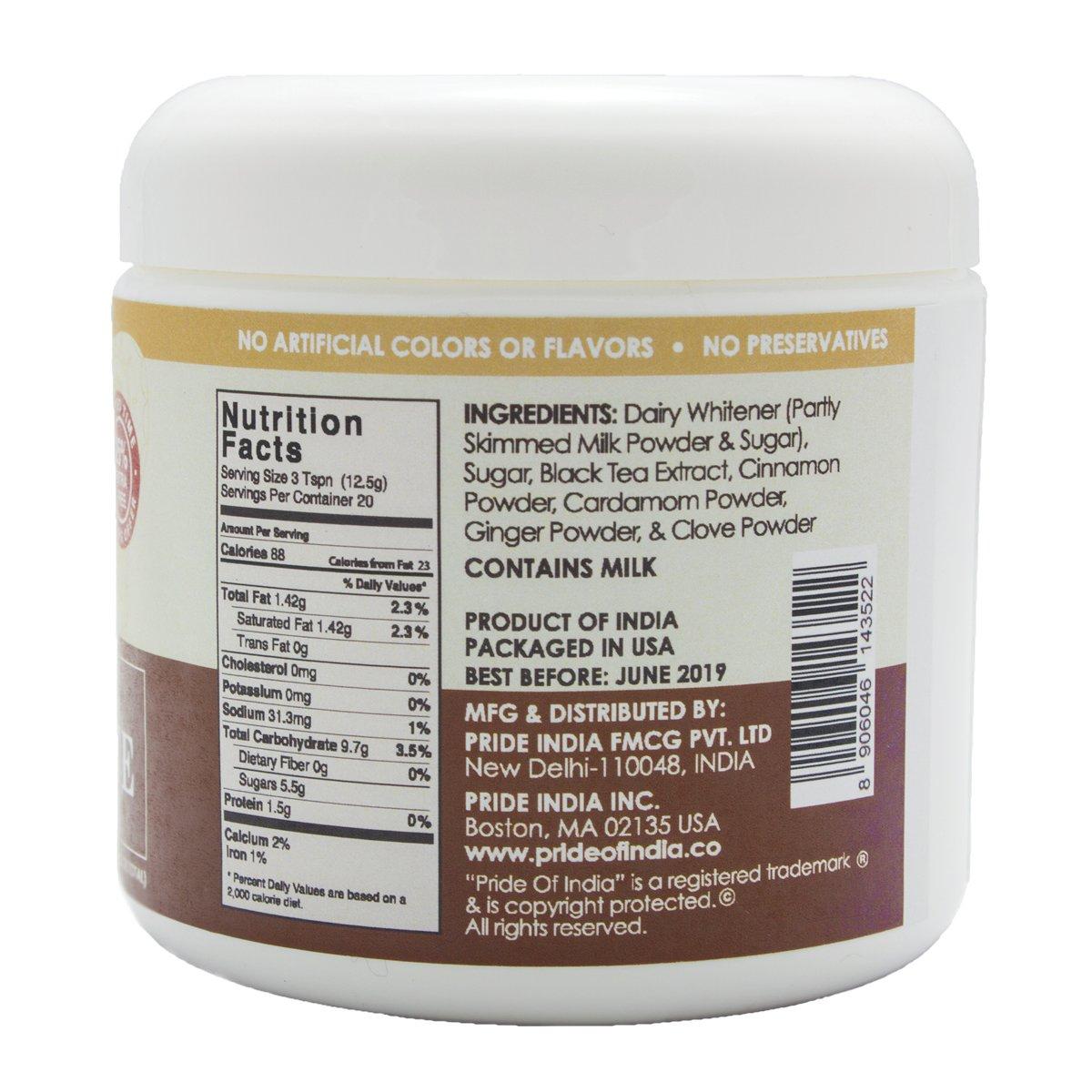 Pride Of India latte chai masala en polvo premezcla té instantáneo, 8,82 oz (250 gramos) jarra (hace 20 tazas): Amazon.es: Alimentación y bebidas