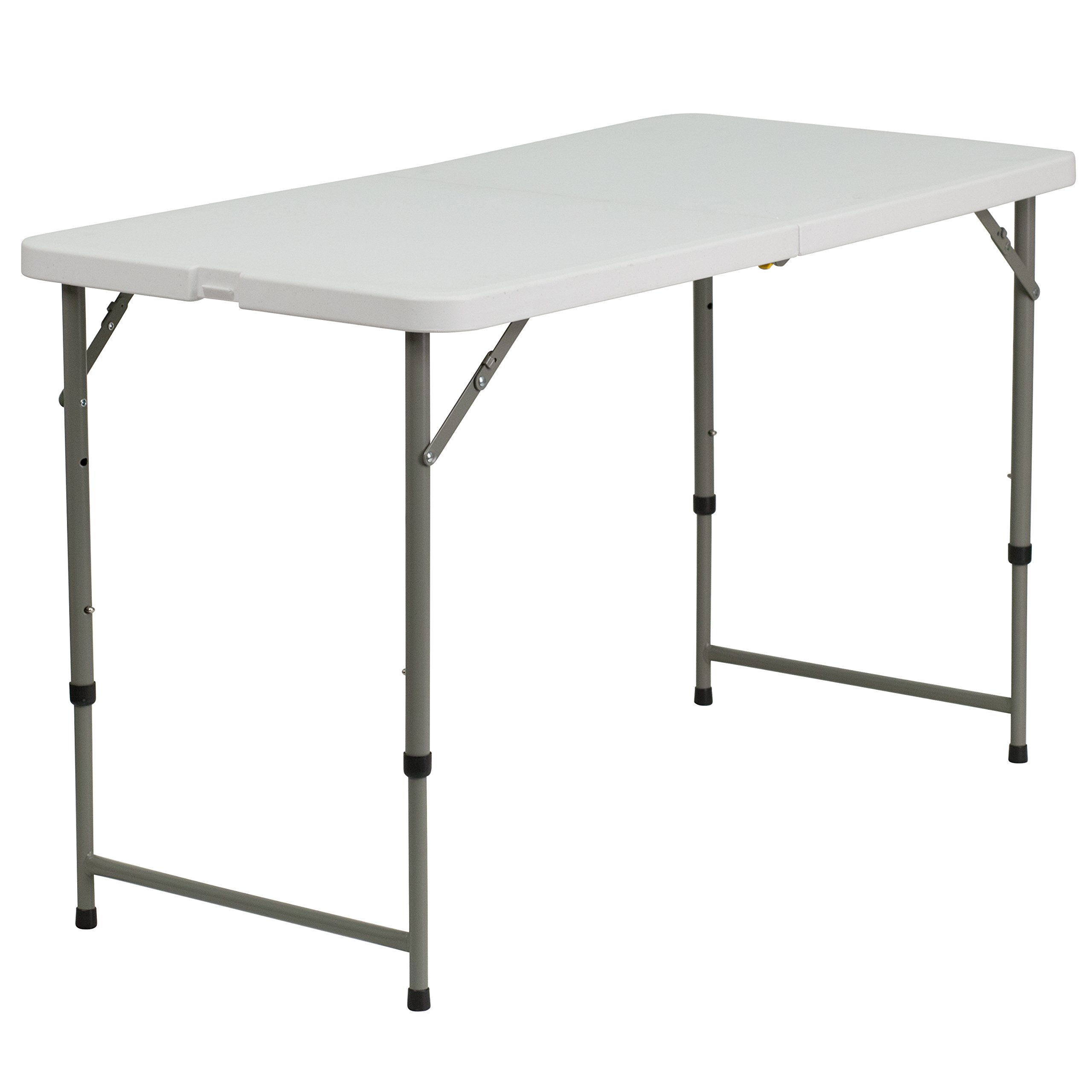 Flash Furniture 24''W x 48''L Height Adjustable Granite White Plastic Folding Table