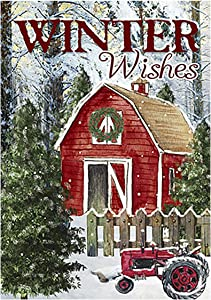 Morigins Winter Wishes Barn Double Sided Snow Scene House Flag 28x40 Inch