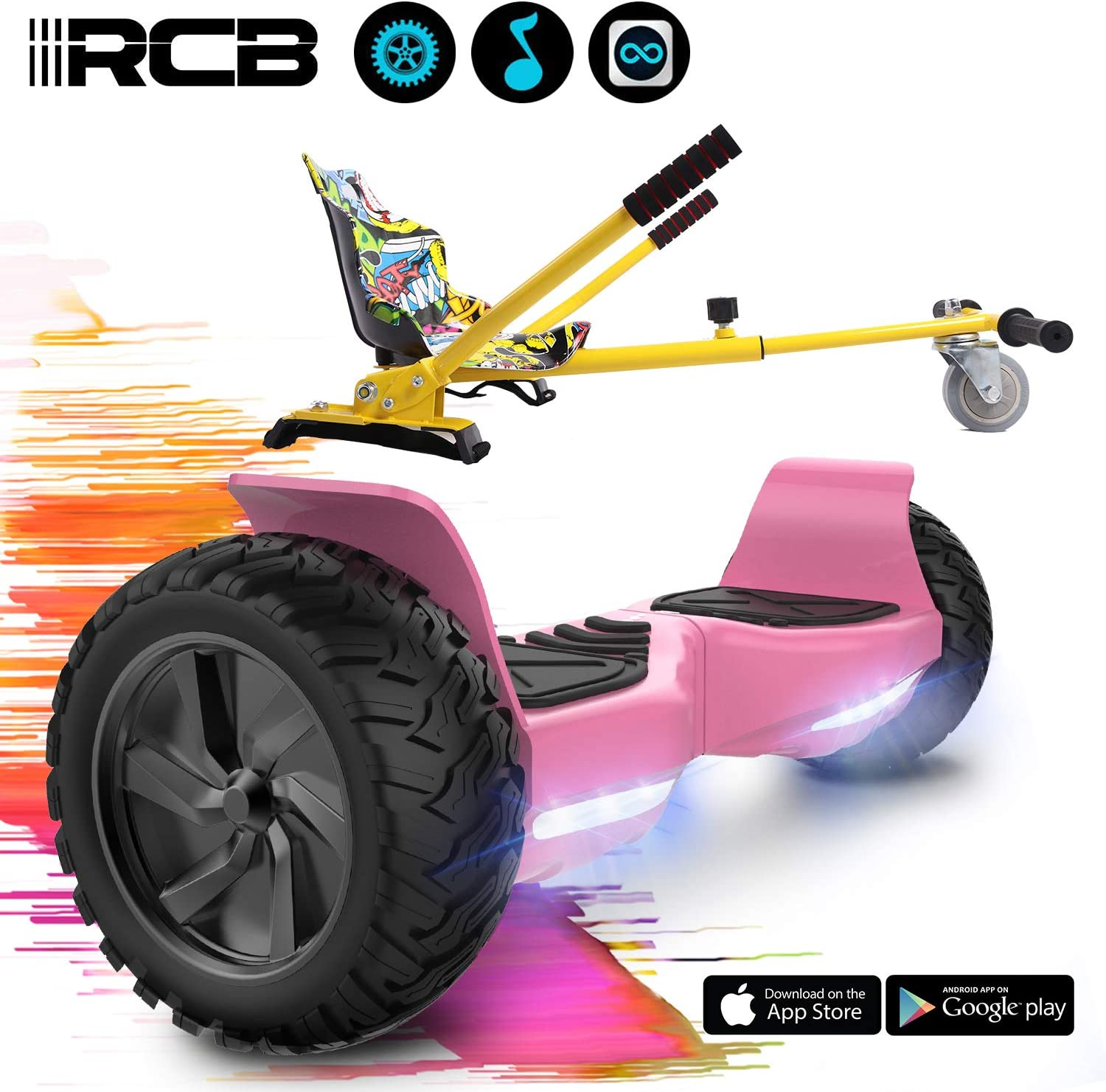 RCB 8.5 Inch Hover Scooter Board All Terrain Self Balancing Scooter with Powerful 2 350W Motors Built in Bluetooth APP LED Light Gift for Children and Teenagers