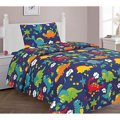 Golden Quality Bedding Twin Size 3 Pieces Printed Sheet Set Kids Multi Color Orange Navy Blue Dinosaur Jurassic World Design Kids/Teens #Twin Sheet Multi Dinosaur: Home & Kitchen