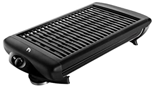 New House Kitchen Electric Smokeless Indoor Grill Large Griddle w/Non-Stick Cooking Surface Temp Control, Dishwasher Safe Removable Drip Tray Black