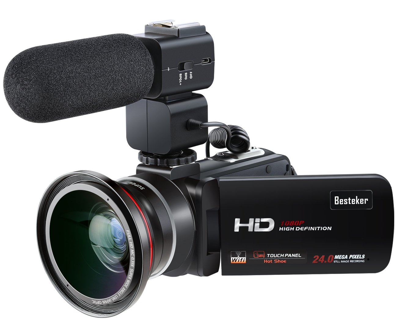 Video Camcorder,Besteker 1080P 30FPS Wifi Camcorders Full HD Portable Digital Video Camera with External Microphone and Wide Angle Lens by Besteker