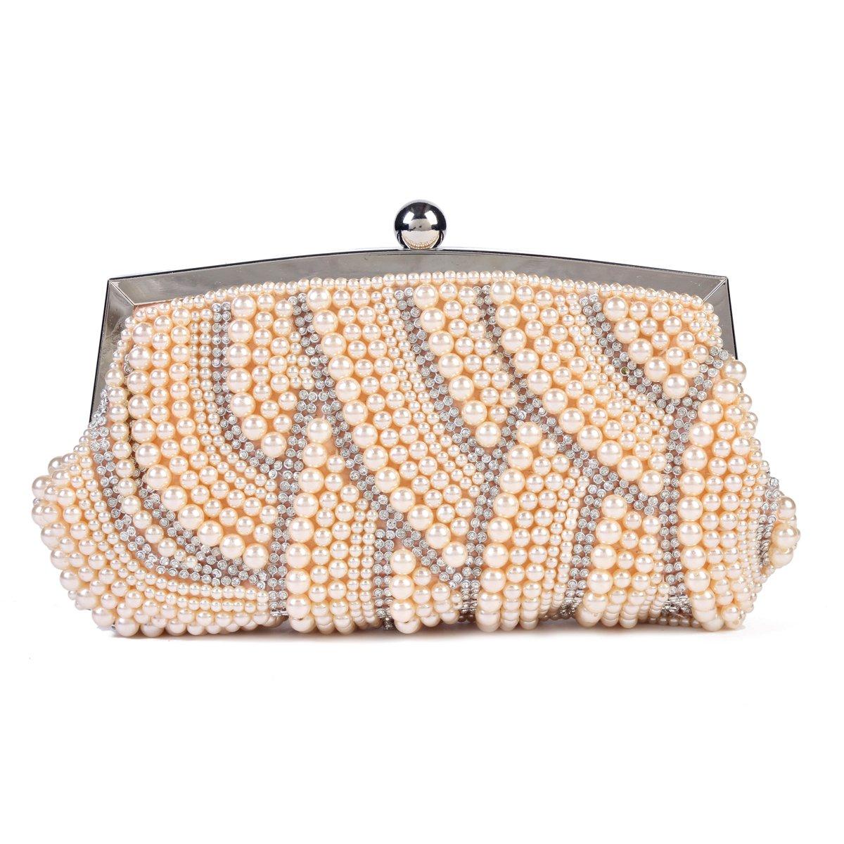Damara Womens Exquisite Pearl Crystal Clutch Evening Shoulder Bag,Champagne