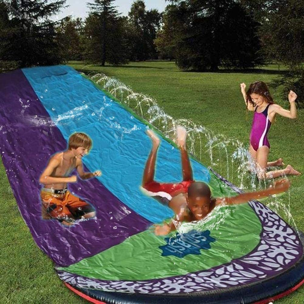 Double Water Slides for Kids Backyard Lawn Water Slides Slip and Slide 188 x 55in Garden Waterslide Watersports for Children Summer Games Outdoor Toys