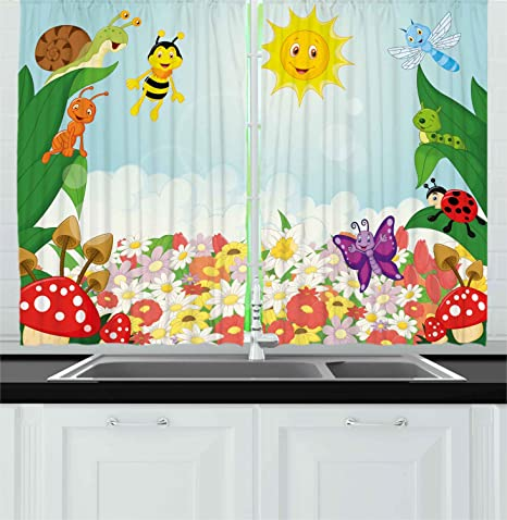 Amazon Com Ambesonne Animal Kitchen Curtains Bee Butterfly Ant Ladybug Snail Floral Mushroom Caterpillar Baby Animal Spring Image Window Drapes 2 Panel Set For Kitchen Cafe Decor 55 X 39 Multicolor Home
