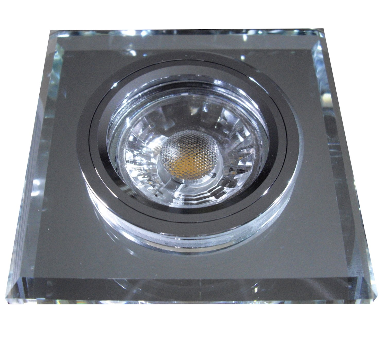 5 Stück MCOB LED Glas Einbaustrahler Jonas 230 Volt 7 Watt Dimmbar Starr Schwarz Warmweiß