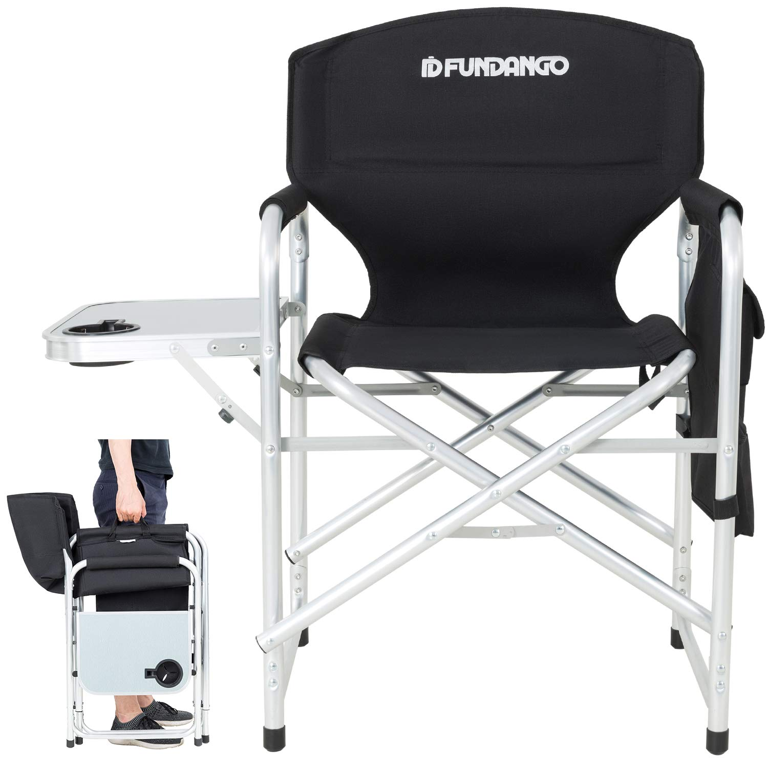 Pleasant Fundango Lightweight Folding Directors Chair Portable Camping Chairs Padded Full Back Aluminum Frame Lawn Chair With Armrest Side Table And Handle For Beutiful Home Inspiration Aditmahrainfo
