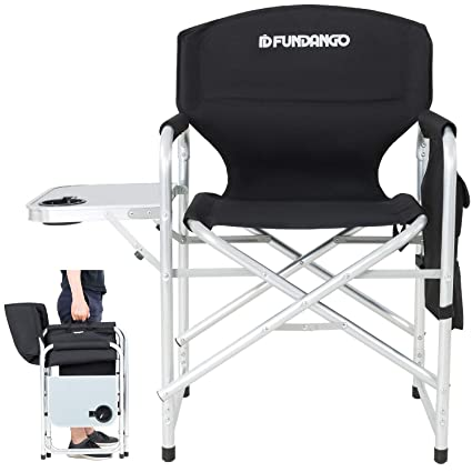 FUNDANGO Lightweight Folding Directors Chair Portable Camping Chairs Padded Full Back Aluminum Frame Lawn Chair with Armrest Side Table and Handle for ...