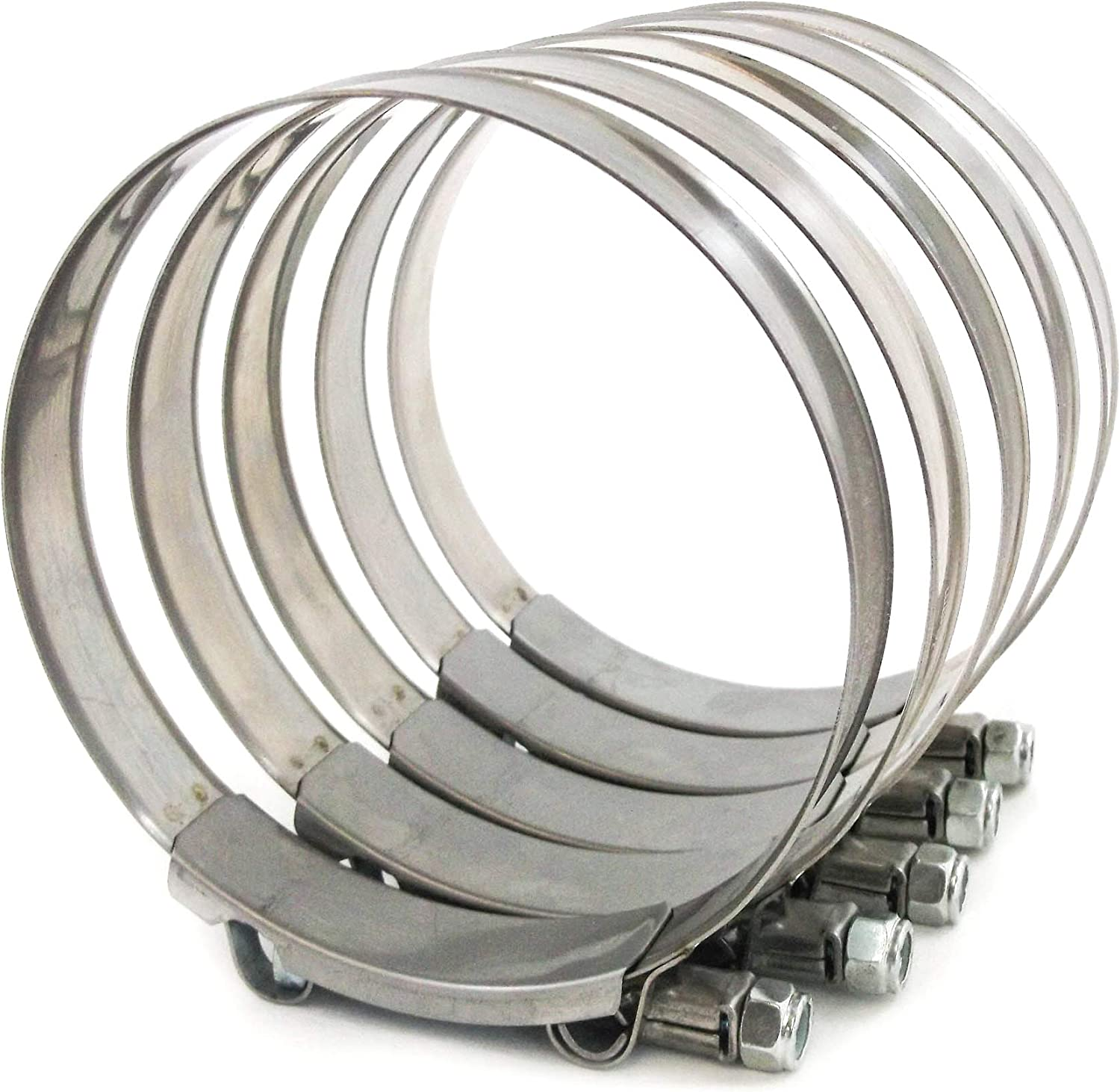5x Premium 304 Stainless Steel T-Bolt Turbo Silicone Hose Clamp 4.5 Inches 110-118mm