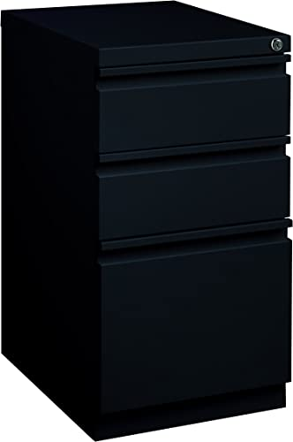 Pro Series Three Drawer Mobile Pedestal File Cabinet, Black, 20 inches deep