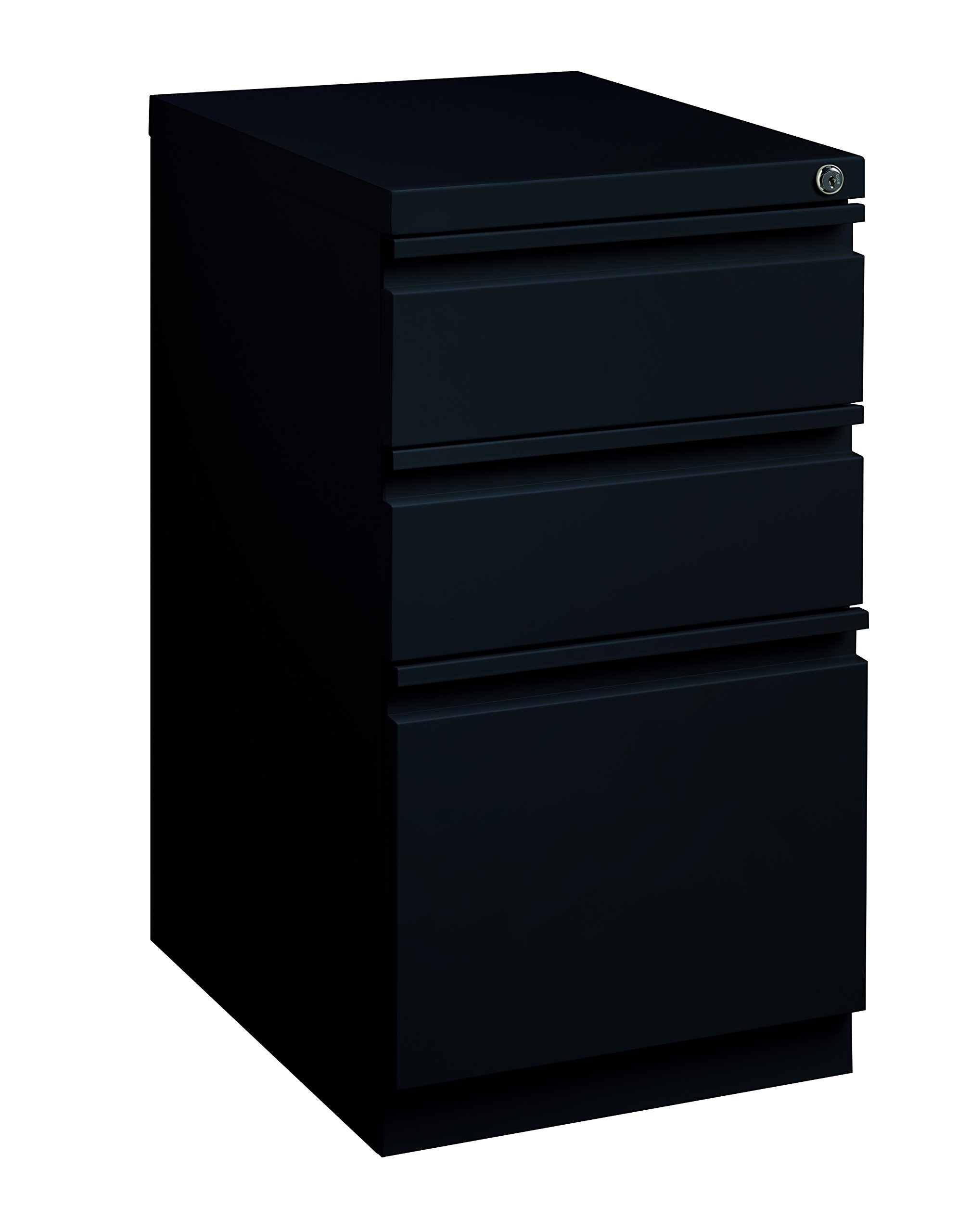 Pro Series Three Drawer Mobile Pedestal File Cabinet, Black, 20 inches deep (22283)