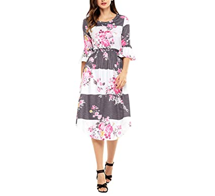 Yuzhongywan Women Work Wear 3/4 Bell Sleeve Floral Print Boho Chic Midi Dress OL