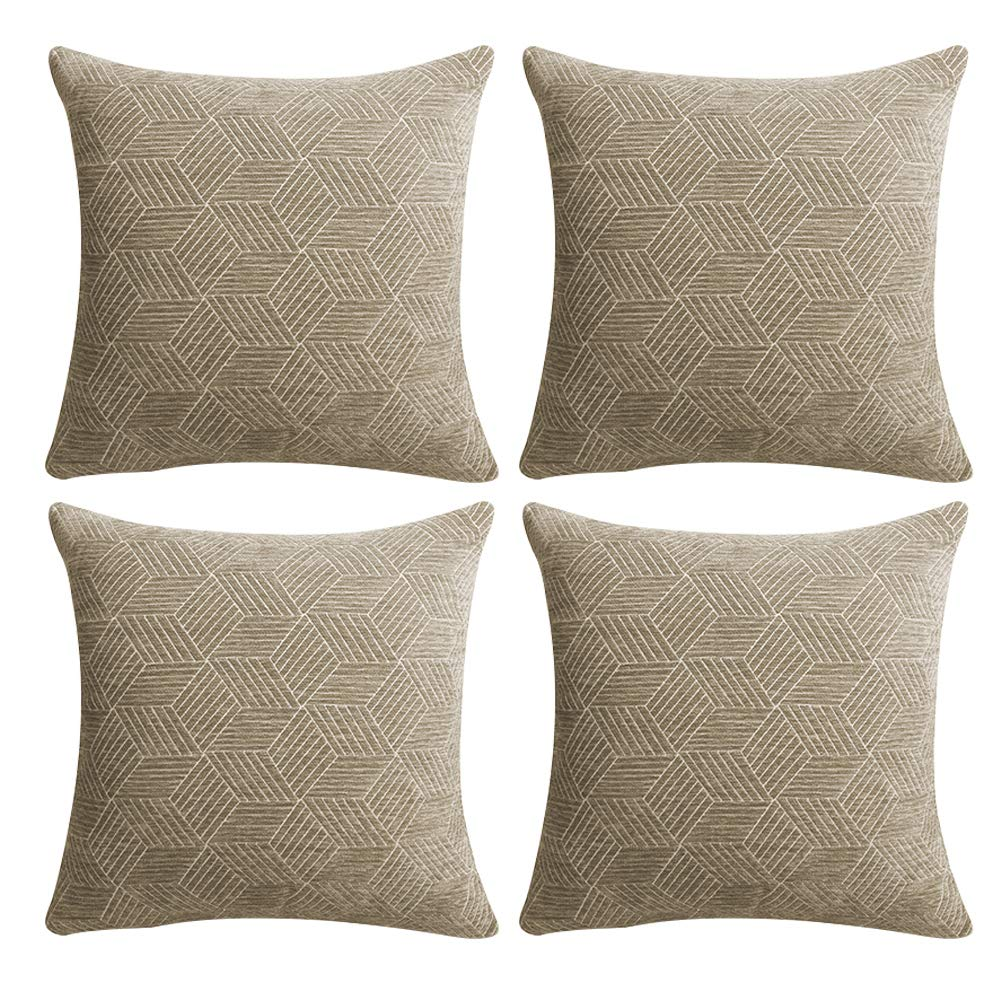 Cushion Covers Throw Pillow Covers Coastal Cushions Covers Cotton Home Decorative Soft Pillow Cases Covers Invisible Zipper No Pillow Insert Furniture Cushions No Pillow Insert (Brown-4PCS, 18 x 18)