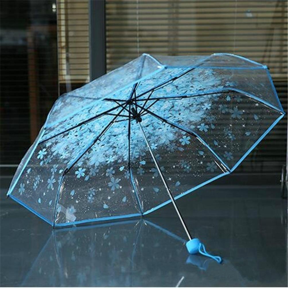 Clearance! Transparent Clear Umbrella Cherry Blossom Mushroom Apollo Sakura 3 Fold Umbrella (Blue) by Bookear (Image #3)