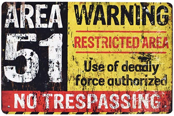 Vvision Area 51 Warning L Art Fer Peinture Tin Mur Panneau