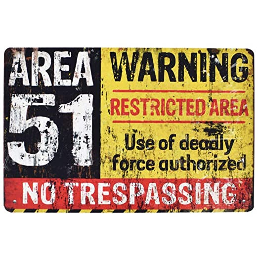 HiSign Area 51 Warning Carteles de Chapa de hojalata Retro ...