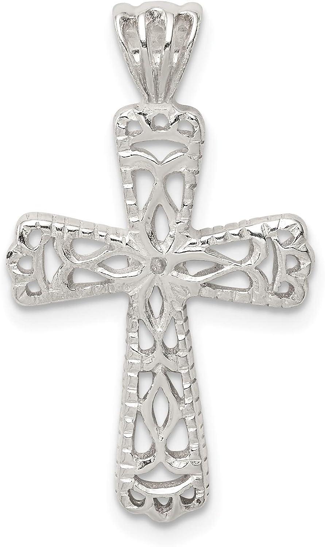 Sterling Silver Filigree Textured Cross Pendant