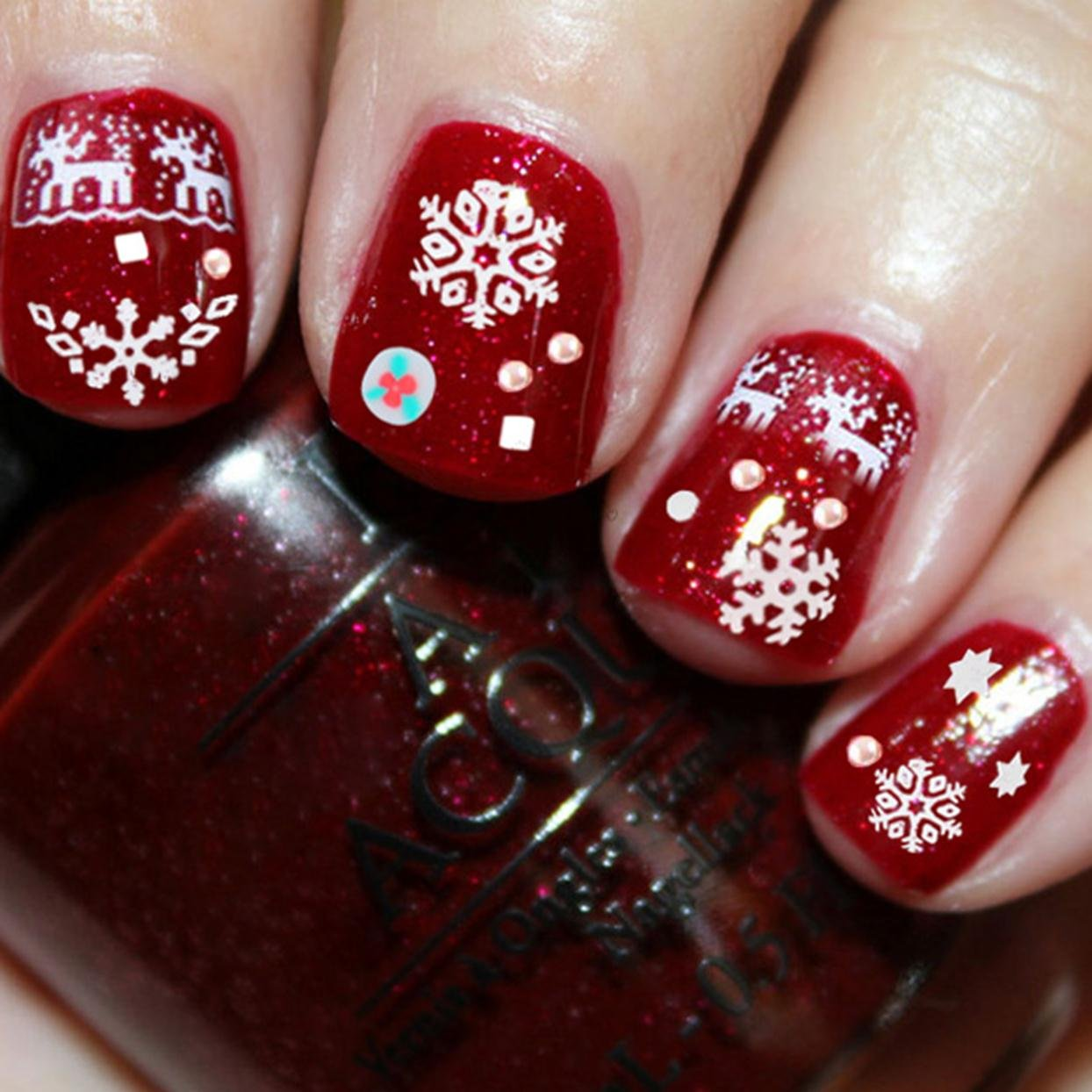 Amazon Christmas Snowflakes Design 3d Nail Art Stickers Decals