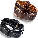 Flongo Bracelet Alliage Cuir Menotte Enveloppez Enrouler Réglable Motard Punk Rock Fantaisie Bijoux Cadeaux pour Femme Homme