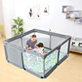 EAQ Baby Playpen(49*49 in), Indoor & Outdoor Kids Activity Center with Anti-Slip Base, Sturdy Safety Play Yard with…