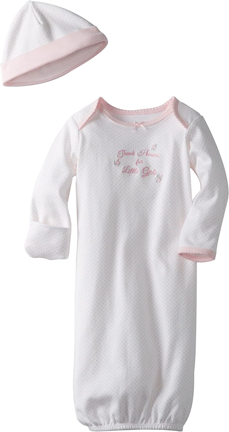 Little Me Baby Girls' Gown and Hat Set, Pink, 0-3 Months