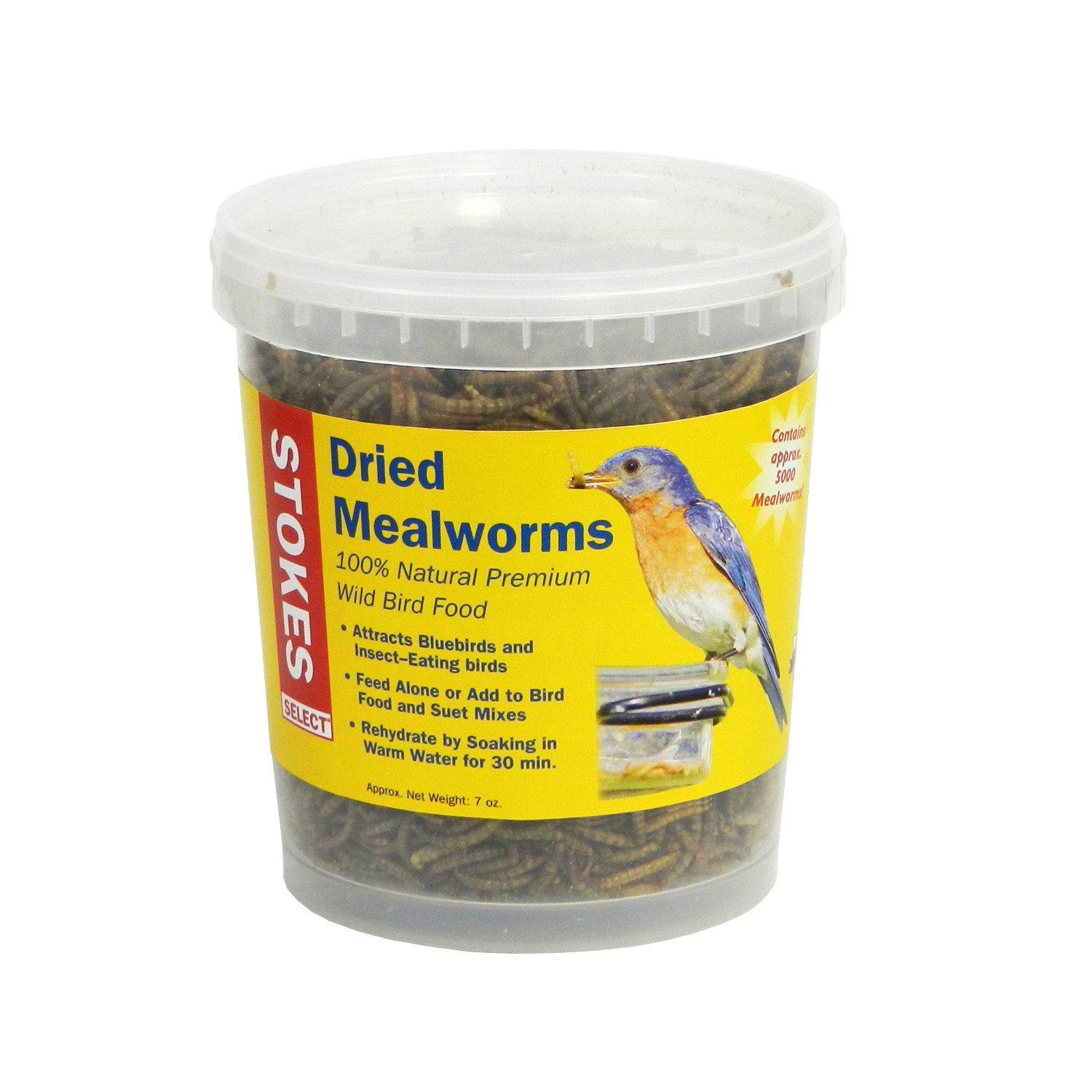 Stokes Select 100% Natural Premium Dried Mealworms, 7 oz. Tub by Stokes Select