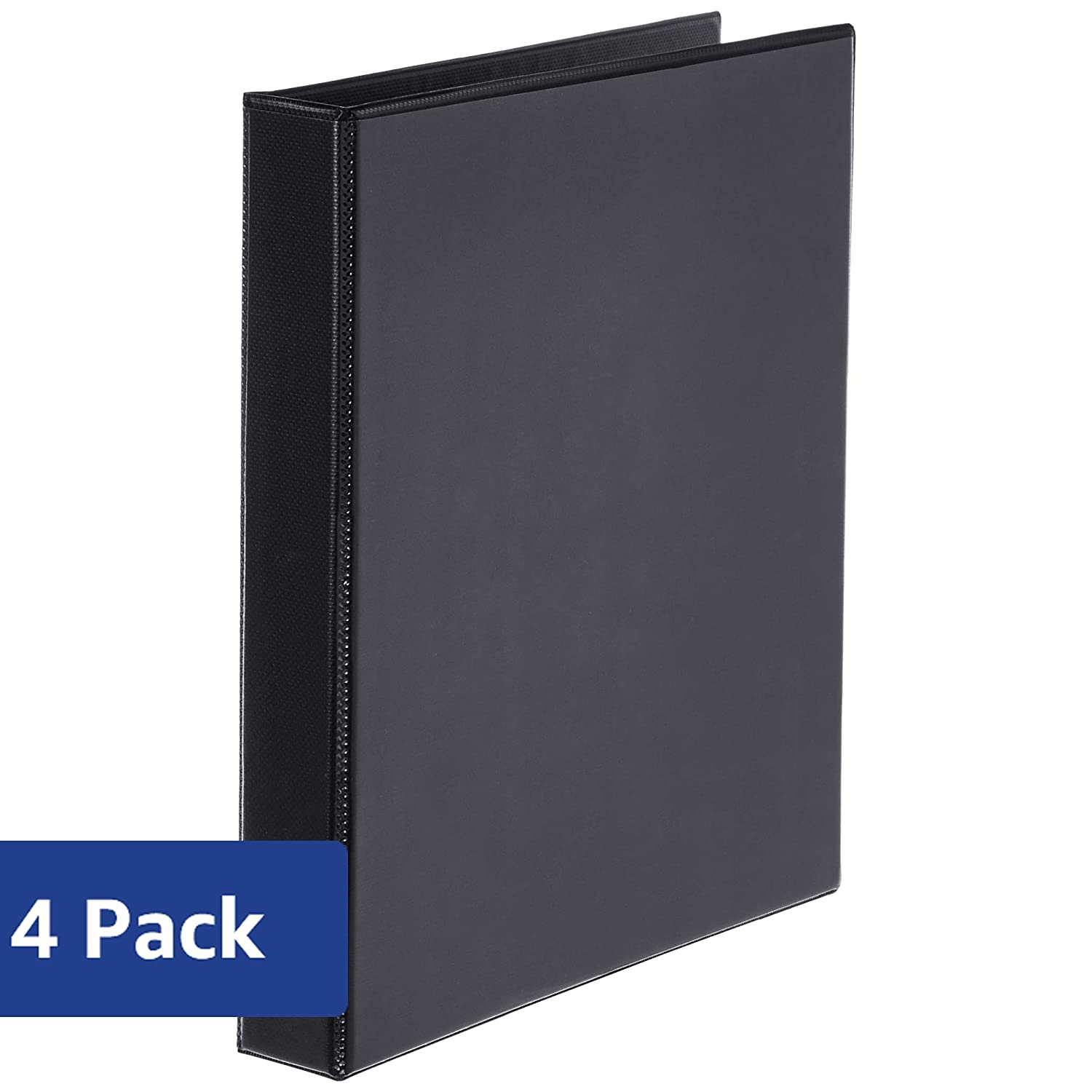 Basics Heavy-Duty D-Ring Binder - 1', Black, 4-Pack AMZ86611