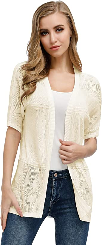 Casual Short Sleeve Office Work Sweater Cardigan White 3XL