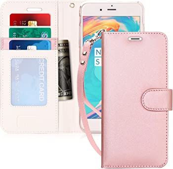 FYY Leather Wallet Case for Apple iPhone 8 Plus / 7 Plus (Pink)