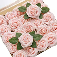 DerBlue 60pcs Artificial Roses Flowers Real Looking Fake Roses Artificial Foam Roses Decoration DIY for Wedding Bouquets…