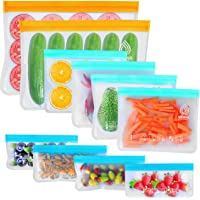 VEHHE 10 Pack Reusable Storage Bags, 2 Reusable Food Freezer Bags + 4 Reusable Sandwich Bags Washable + 4 Snack Bags…