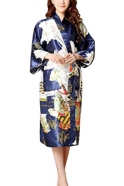 Dolamen Mujer Vestido Kimono Satén, Camisón para Mujer, Geisha & Flores Robe Albornoz Dama