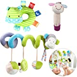 YEAHIBABY Stroller Toy Spiral Toy Bed Hanging Toys Baby Car Seat Toy Plush Crinkle Stroller Toys Educational Toy 3Pcs